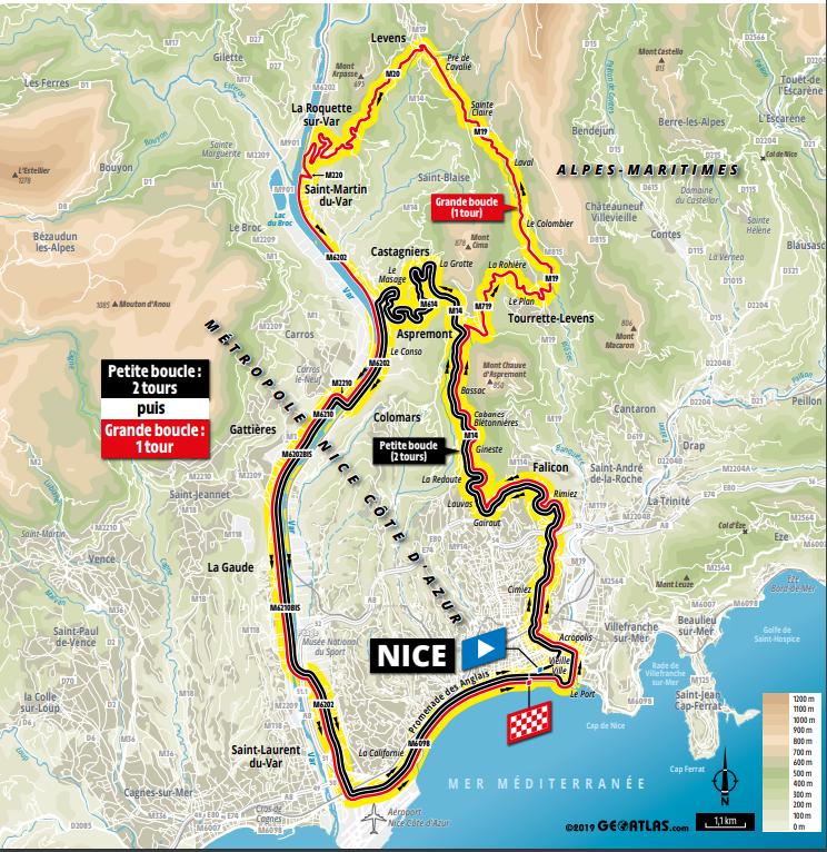 route etappe 1 Nice Moyen Pays naar Nice