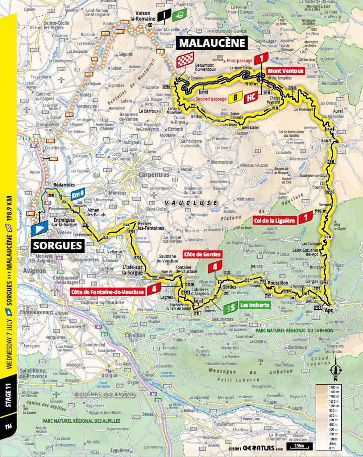 route Etappe 11 tour de france 2021