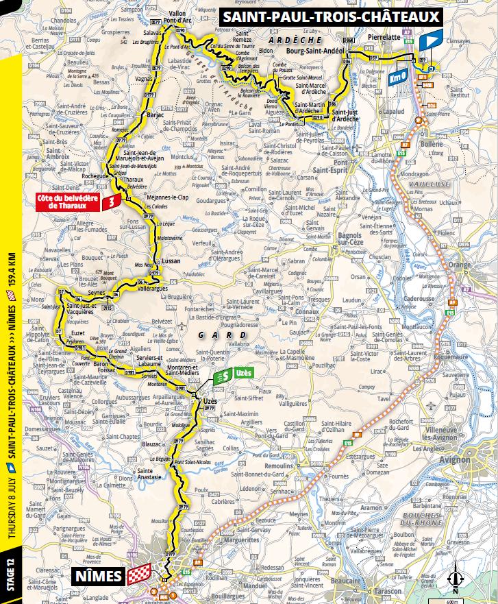 route Etappe 12 tour de france 2021