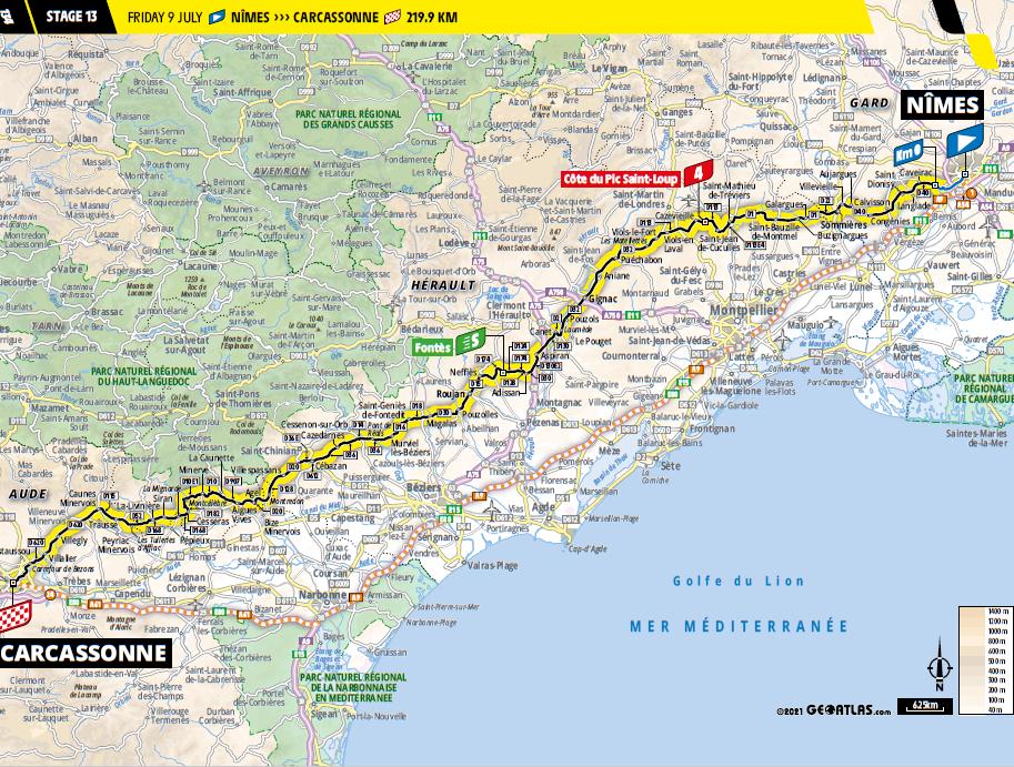 route Etappe 13 tour de france 2021