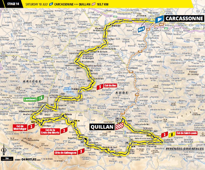 route Etappe 14 tour de france 2021