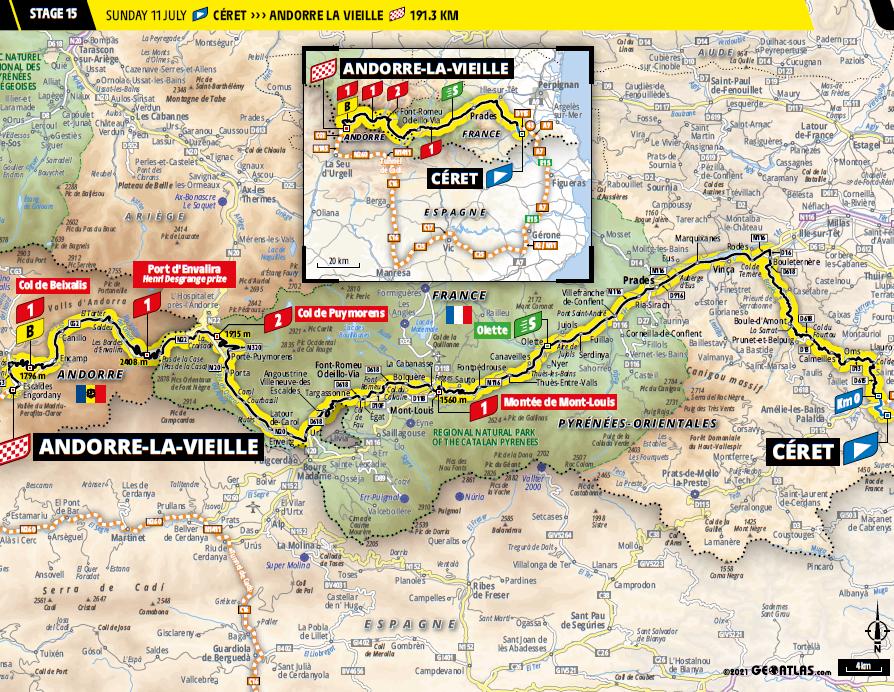 route Etappe 15 tour de france 2021