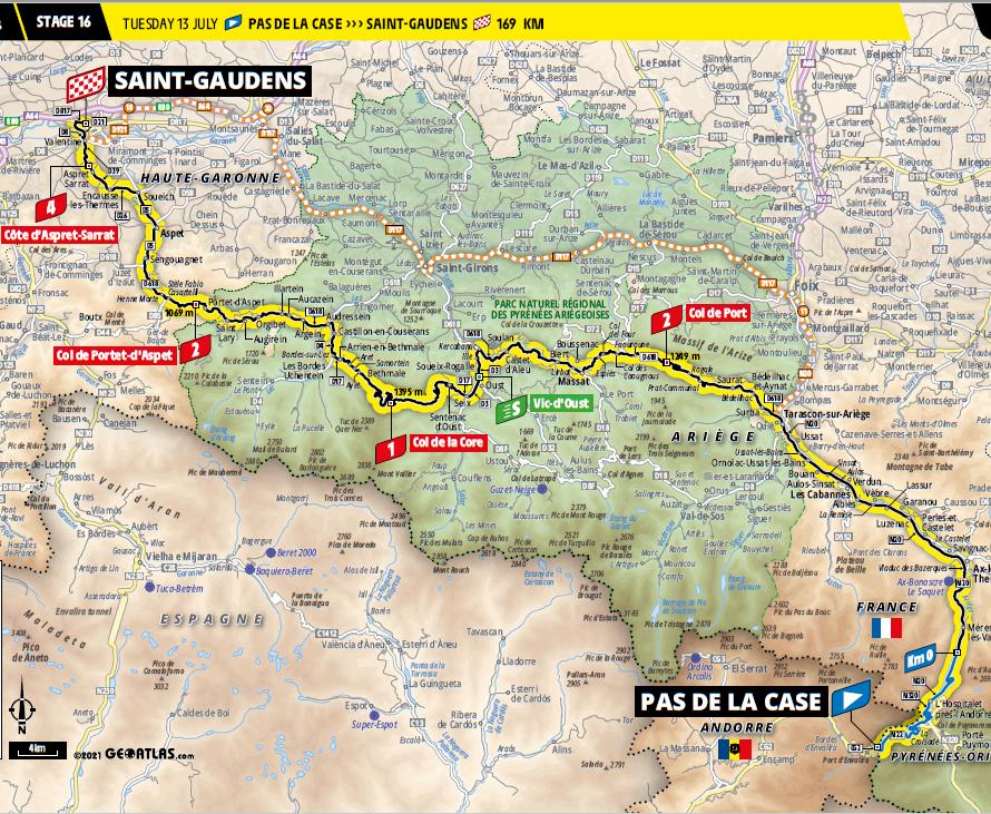 route Etappe 16 tour de france 2021