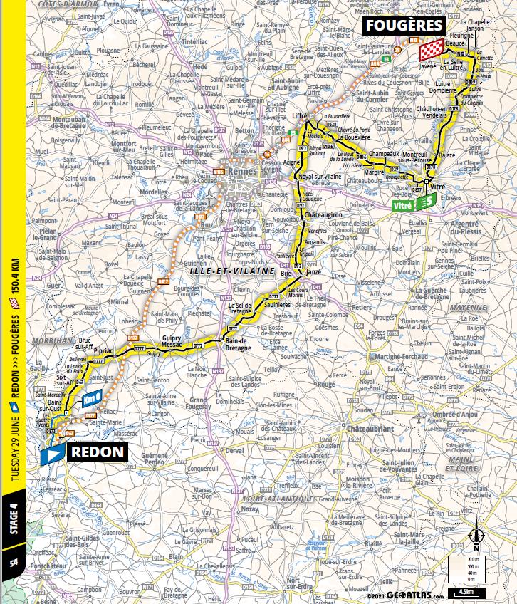 route Etappe 4 tour de france 2021