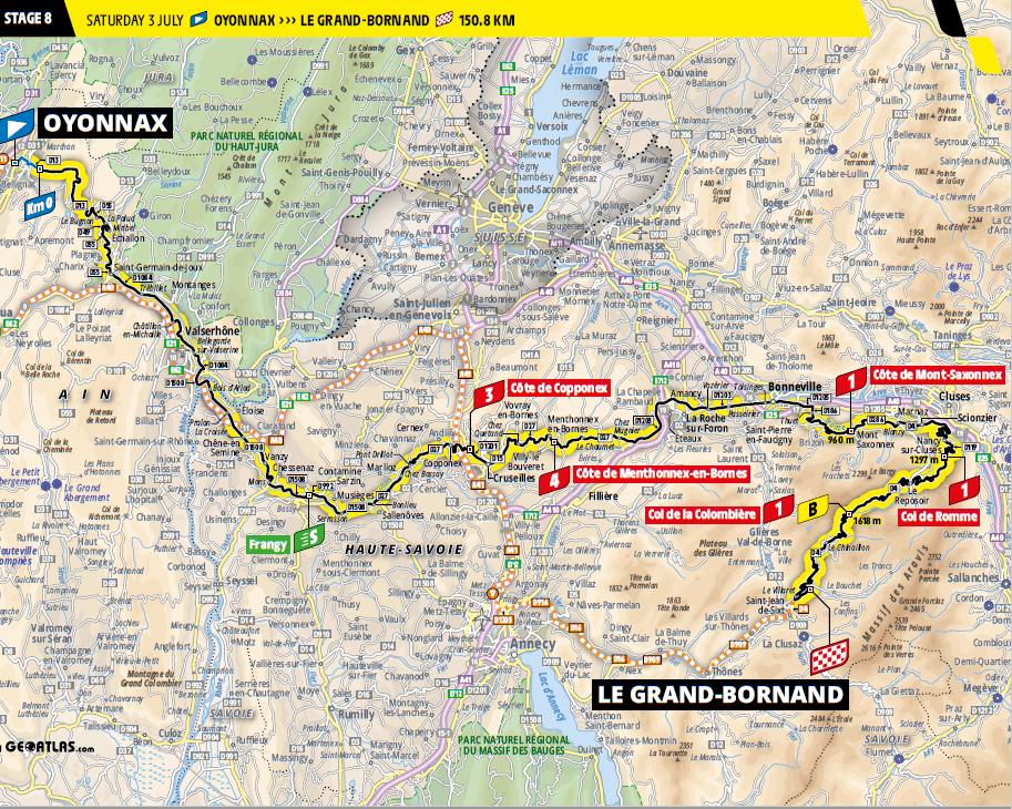 route Etappe 8 tour de france 2021
